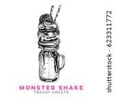 vector hand drawn milkshake... | Shutterstock .eps vector #623311772