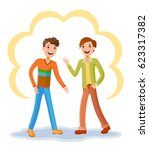 two friendly male mature... | Shutterstock .eps vector #623317382