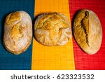 homemade traditional breads on... | Shutterstock . vector #623323532