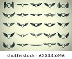 vector wings for coat of arms ... | Shutterstock .eps vector #623335346