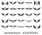 vector wings for coat of arms ... | Shutterstock .eps vector #623335352