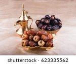 premium dates fruit and arabic... | Shutterstock . vector #623335562