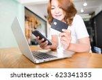 online shopping concept.... | Shutterstock . vector #623341355