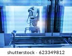 robotic arm machine tool at... | Shutterstock . vector #623349812