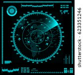 blue radar screen with planes... | Shutterstock .eps vector #623351246