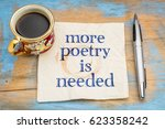 Small photo of more poetry is needed - handwriting on a napkin with a cup of coffee
