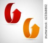 vector round arrow banners set. ... | Shutterstock .eps vector #623368802