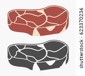 steak meat. vector illustration. | Shutterstock .eps vector #623370236