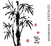 hand drawn black ink bamboo... | Shutterstock .eps vector #623376122