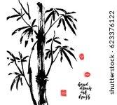hand drawn black ink bamboo... | Shutterstock .eps vector #623376122
