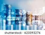 double exposure of graph with... | Shutterstock . vector #623393276