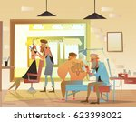 tattoo parlor and hairdresser   ... | Shutterstock .eps vector #623398022