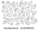 strawberry pattern on paper... | Shutterstock . vector #623398322
