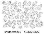 strawberry pattern on paper... | Shutterstock . vector #623398322