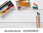 drawing tools  stationary... | Shutterstock . vector #623404832