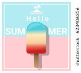 hello summer background with... | Shutterstock .eps vector #623406356