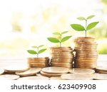 stack of money  rows of coins... | Shutterstock . vector #623409908