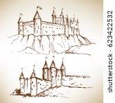 hand drawn medieval castles... | Shutterstock .eps vector #623422532