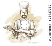 smiling and happy chef with... | Shutterstock .eps vector #623437382