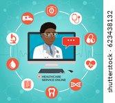 healthcare service online.... | Shutterstock .eps vector #623438132