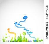 """ecotown""   modern ecological... | Shutterstock .eps vector #62344018"