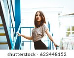 young pretty girl in... | Shutterstock . vector #623448152
