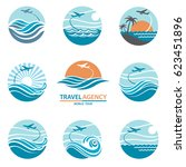 travel logo collection with... | Shutterstock .eps vector #623451896