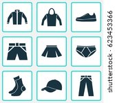 garment icons set. collection... | Shutterstock .eps vector #623453366