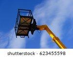 hydraulic lift platform with... | Shutterstock . vector #623455598