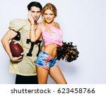 beautiful blond girl... | Shutterstock . vector #623458766