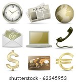 business website gold icon set. ... | Shutterstock .eps vector #62345953