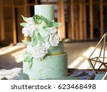 wedding cake decorated with... | Shutterstock . vector #623468498