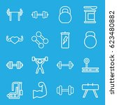 bodybuilding icons set. set of... | Shutterstock .eps vector #623480882