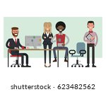 scenes of people working in the ... | Shutterstock .eps vector #623482562