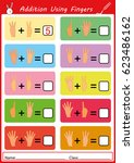 addition using fingers  add and ...   Shutterstock . vector #623486162