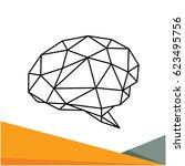 illustration brain icon in thin ... | Shutterstock .eps vector #623495756