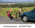 accident cars with biker. car... | Shutterstock . vector #623497262