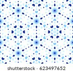 blue flower pattern. seamless... | Shutterstock .eps vector #623497652