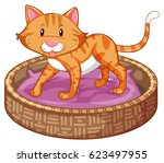 Stock vector ginger cat in basket illustration 623497955