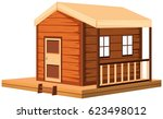 wooden cottage in 3d design... | Shutterstock .eps vector #623498012