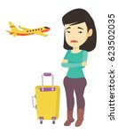 young asian airplane passenger... | Shutterstock .eps vector #623502035