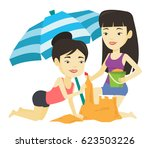young asian friends making sand ... | Shutterstock .eps vector #623503226