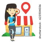 asian woman holding smartphone... | Shutterstock .eps vector #623504036
