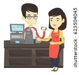 man paying wireless with... | Shutterstock .eps vector #623504045