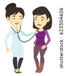 young asian doctor listening to ... | Shutterstock .eps vector #623504606