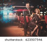 well dressed couple in a luxury ... | Shutterstock . vector #623507546