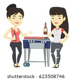 smiling asian friends having a... | Shutterstock .eps vector #623508746