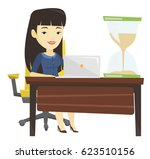 business woman sitting at table ... | Shutterstock .eps vector #623510156