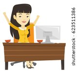 successful business woman... | Shutterstock .eps vector #623511386