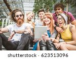 group of friends bonding and... | Shutterstock . vector #623513096